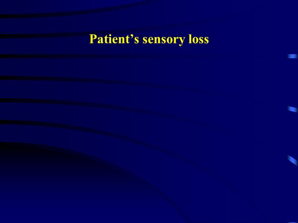 Patient's sensory loss