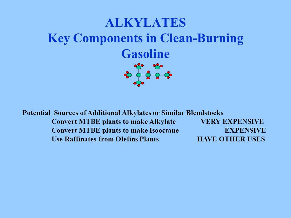 ALKYLATES Key Components in Clean-Burning Gasoline Potential Sources of Additional Alkylates or Similar Blendstocks Convert MTBE plants to make Alkyla