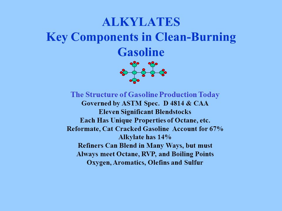 ALKYLATES Key Components in Clean-Burning Gasoline The Structure of Gasoline Production Today Governed by ASTM Spec. D 4814 & CAA Eleven Significant B