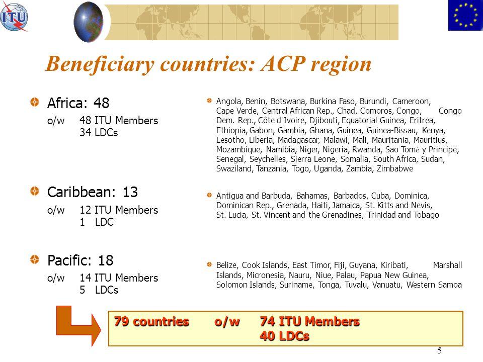 5 Beneficiary countries: ACP region Africa: 48 o/w48 ITU Members 34 LDCs Caribbean: 13 o/w12 ITU Members 1 LDC Pacific: 18 o/w14 ITU Members 5 LDCs An