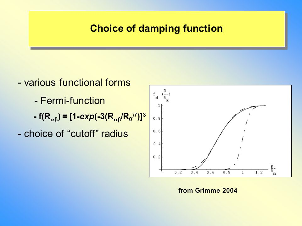 "Choice of damping function - various functional forms - Fermi-function - f(R  ) = [1-exp(-3(R  /R 0 )7 )] 3 - choice of ""cutoff"" radius from Grimm"