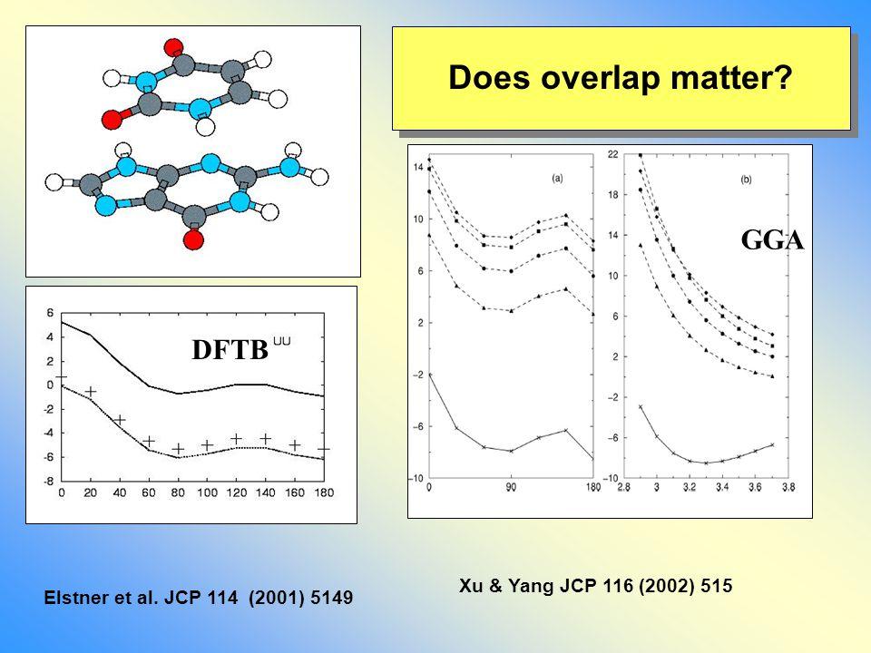 Does overlap matter Xu & Yang JCP 116 (2002) 515 Elstner et al. JCP 114 (2001) 5149 GGA DFTB