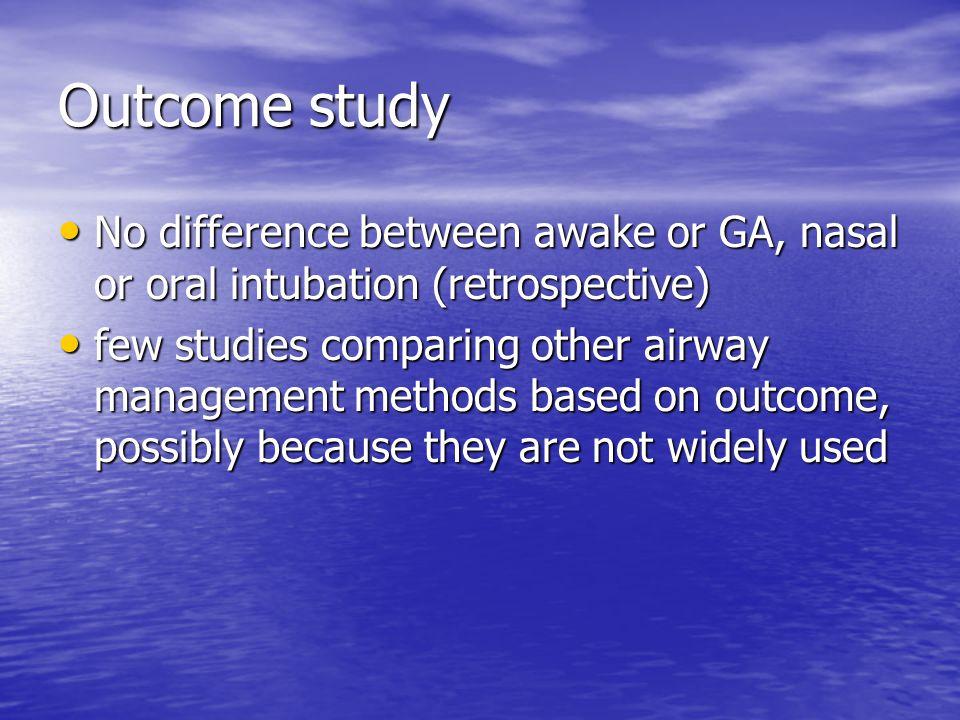 Outcome study No difference between awake or GA, nasal or oral intubation (retrospective) No difference between awake or GA, nasal or oral intubation