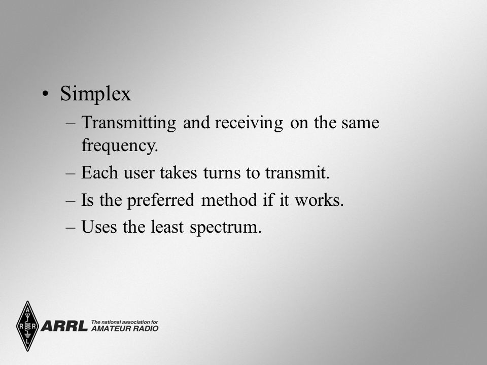 Simplex –Transmitting and receiving on the same frequency.