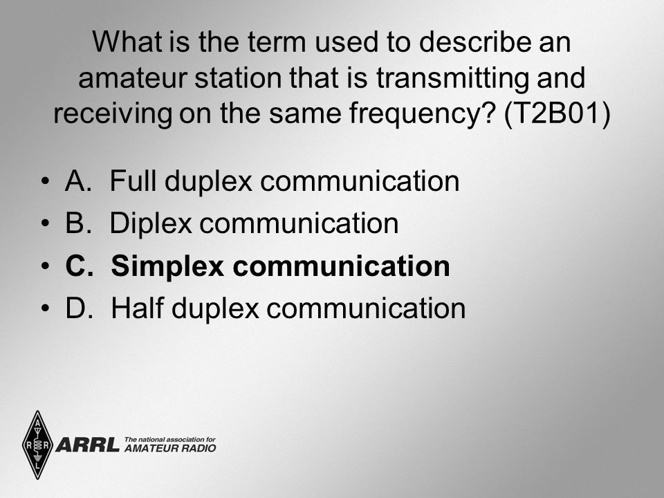 What is the term used to describe an amateur station that is transmitting and receiving on the same frequency? (T2B01) A. Full duplex communication B.