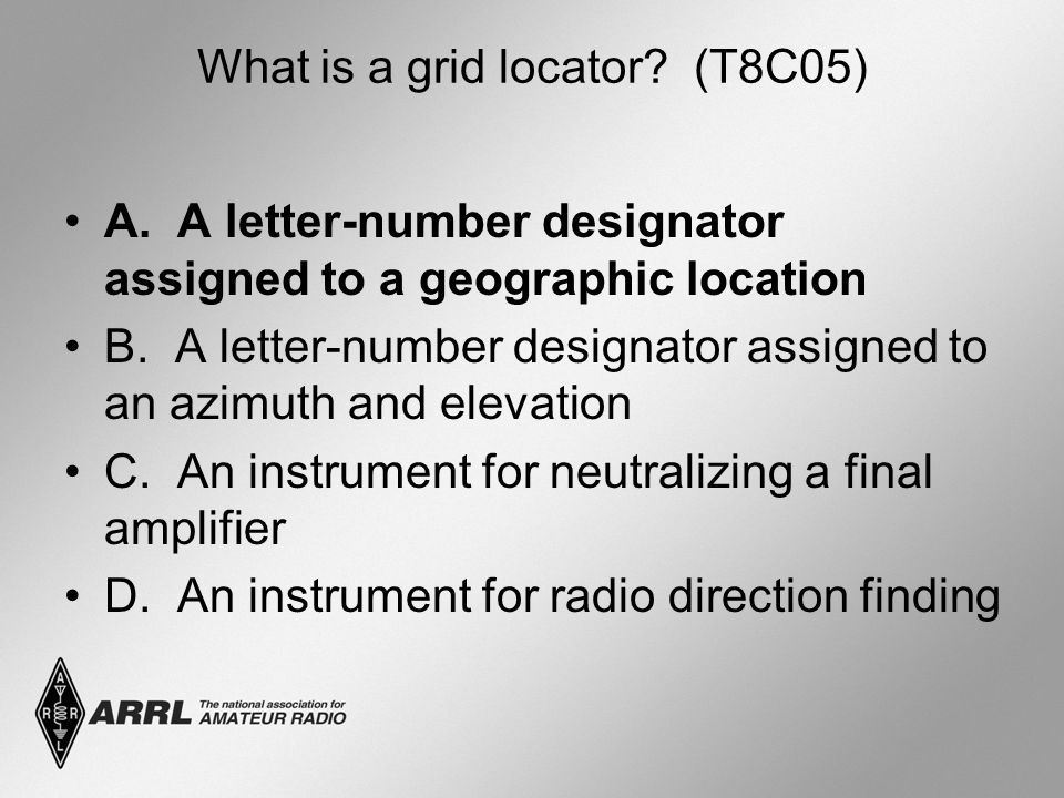What is a grid locator? (T8C05) A. A letter-number designator assigned to a geographic location B. A letter-number designator assigned to an azimuth a
