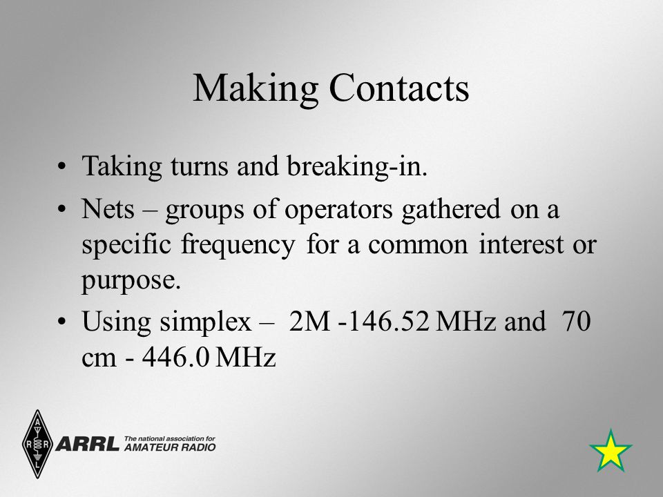 Making Contacts Taking turns and breaking-in. Nets – groups of operators gathered on a specific frequency for a common interest or purpose. Using simp