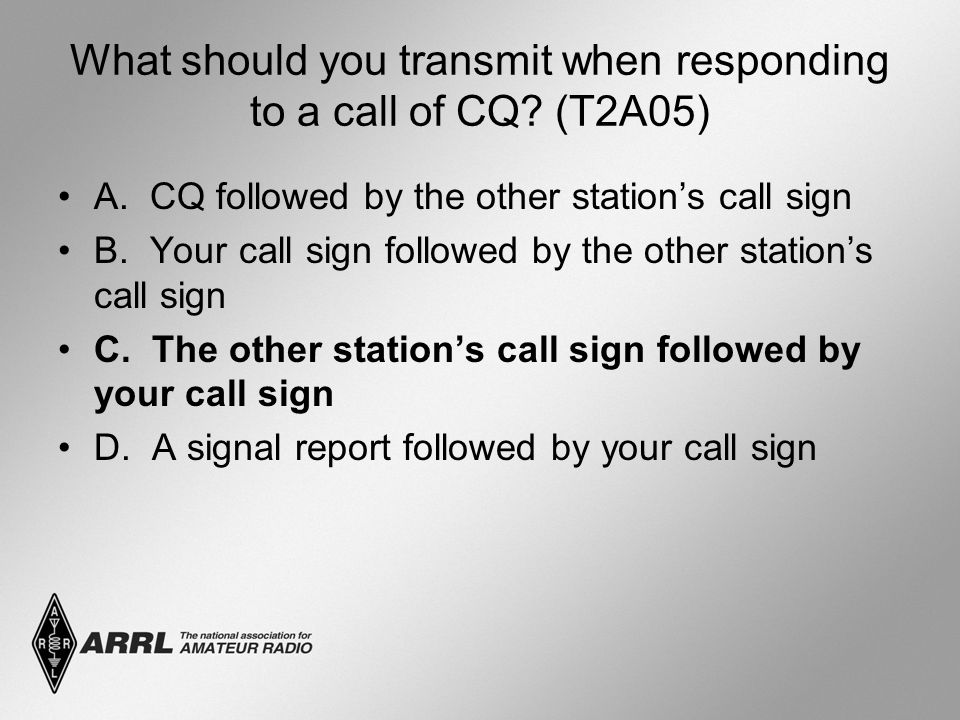 What should you transmit when responding to a call of CQ.