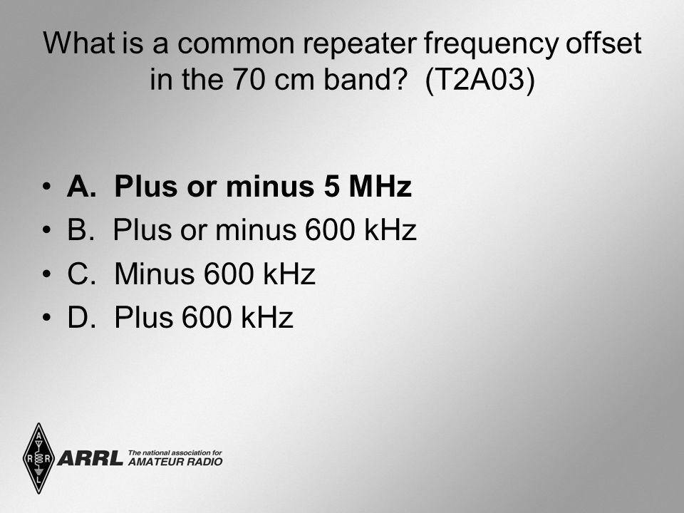 What is a common repeater frequency offset in the 70 cm band.