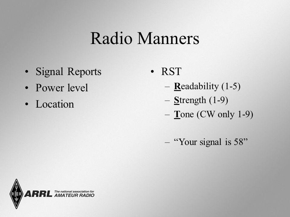 Radio Manners Ham radio is self-regulated.–ARRL Official Observers.