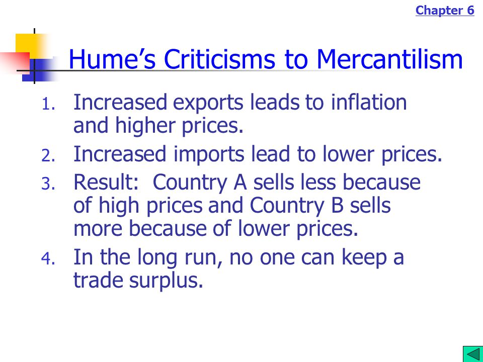 Chapter 6 Hume's Criticisms to Mercantilism 1.