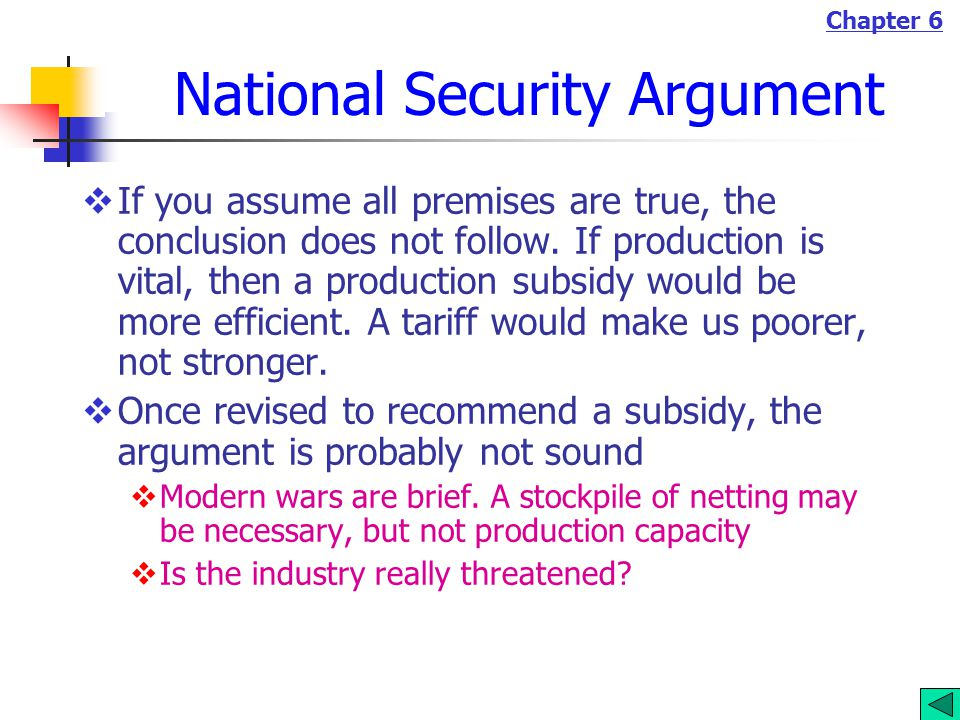 Chapter 6 National Security Argument  If you assume all premises are true, the conclusion does not follow.