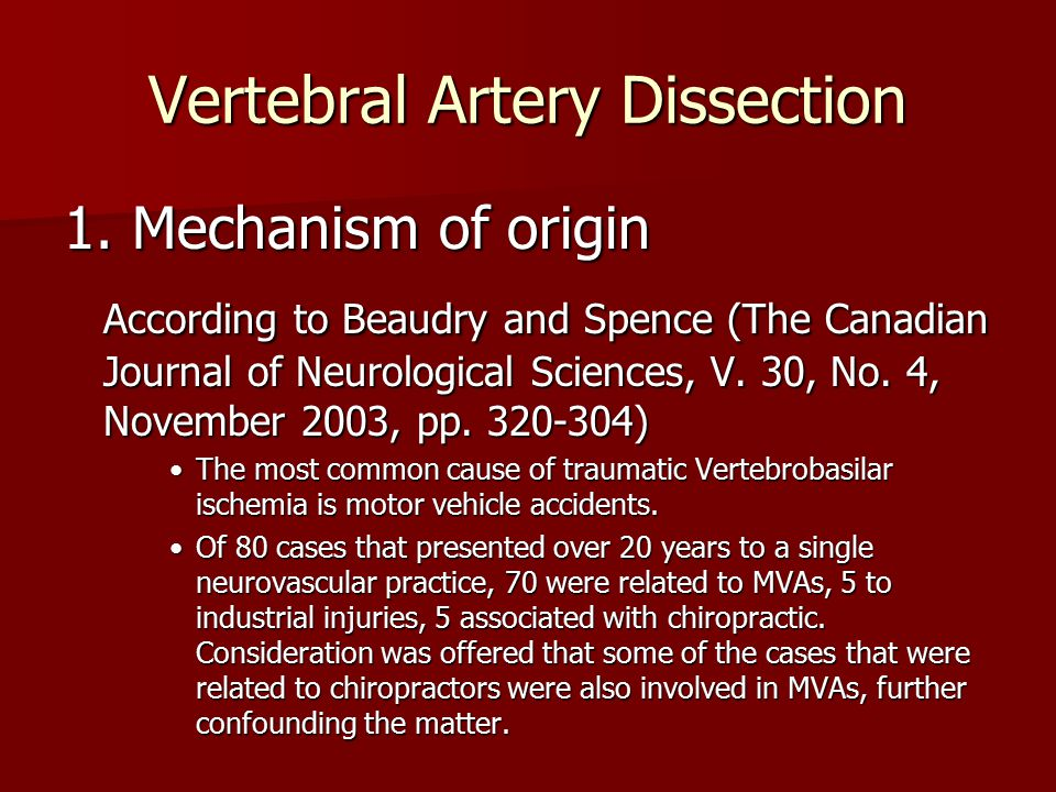 Vertebral Artery Dissection 1. Mechanism of origin According to Beaudry and Spence (The Canadian Journal of Neurological Sciences, V. 30, No. 4, Novem