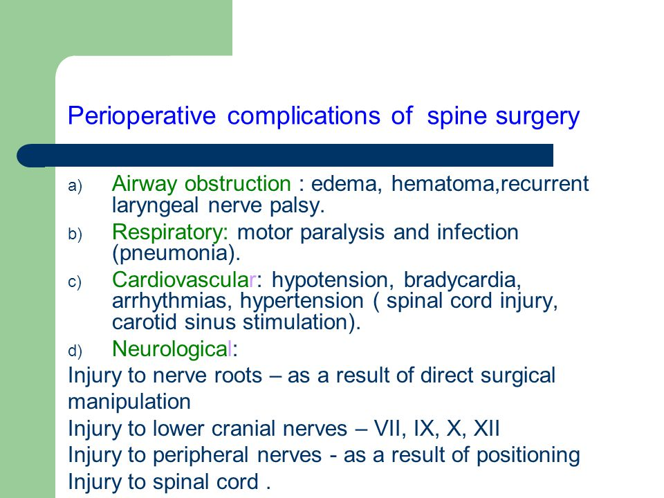 Perioperative complications of spine surgery a) Airway obstruction : edema, hematoma,recurrent laryngeal nerve palsy. b) Respiratory: motor paralysis