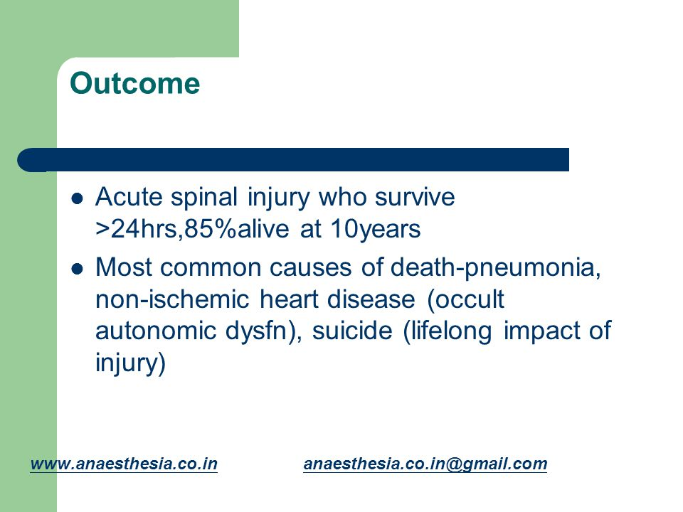 Outcome Acute spinal injury who survive >24hrs,85%alive at 10years Most common causes of death-pneumonia, non-ischemic heart disease (occult autonomic