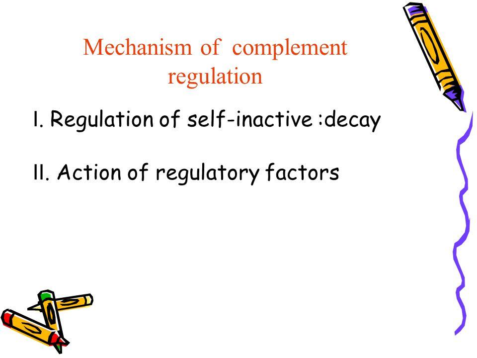Mechanism of complement regulation Ⅰ. Regulation of self-inactive :decay Ⅱ. Action of regulatory factors