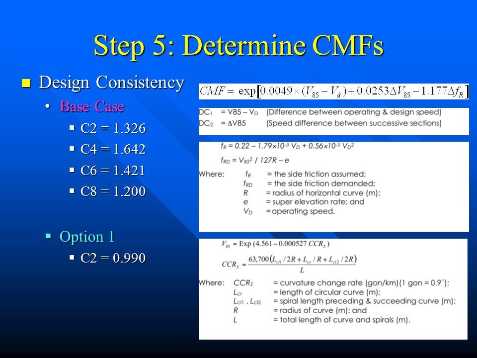 Step 5: Determine CMFs Design Consistency Design Consistency Base Case Base Case  C2 = 1.326  C4 = 1.642  C6 = 1.421  C8 = 1.200  Option 1  C2 =
