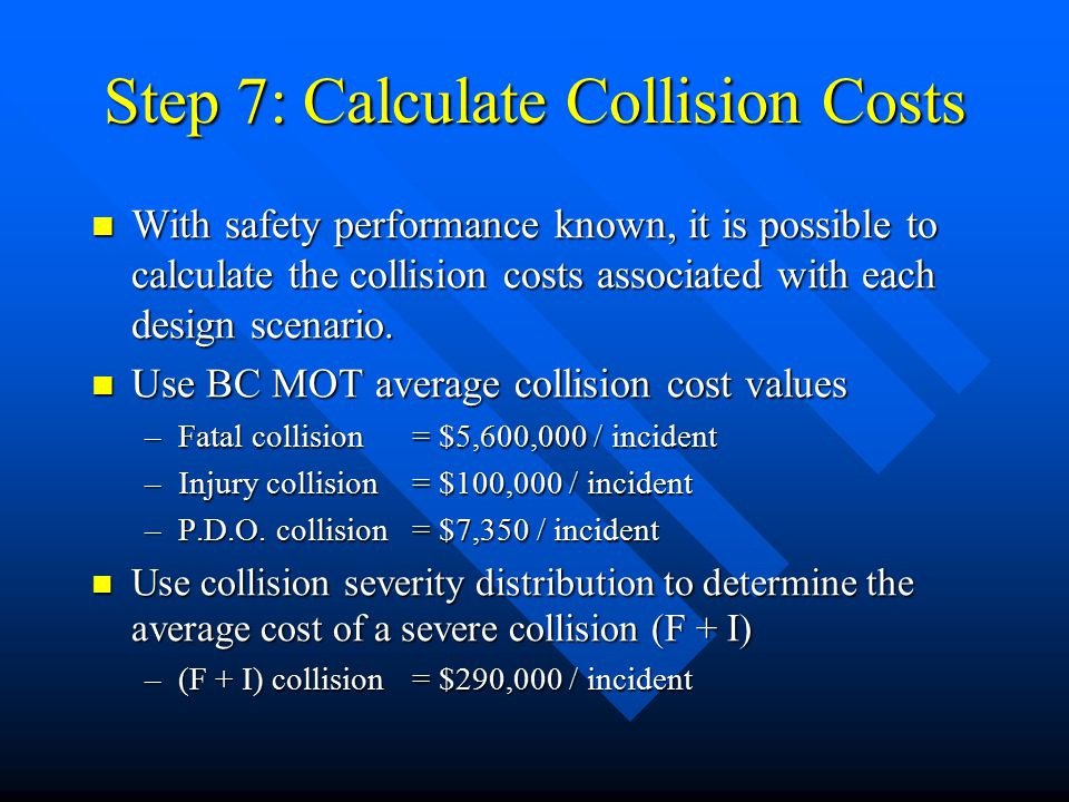 Step 7: Calculate Collision Costs With safety performance known, it is possible to calculate the collision costs associated with each design scenario.