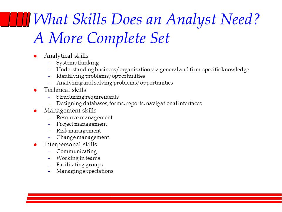 What Skills Does an Analyst Need? A More Complete Set l Analytical skills –Systems thinking –Understanding business/organization via general and firm-
