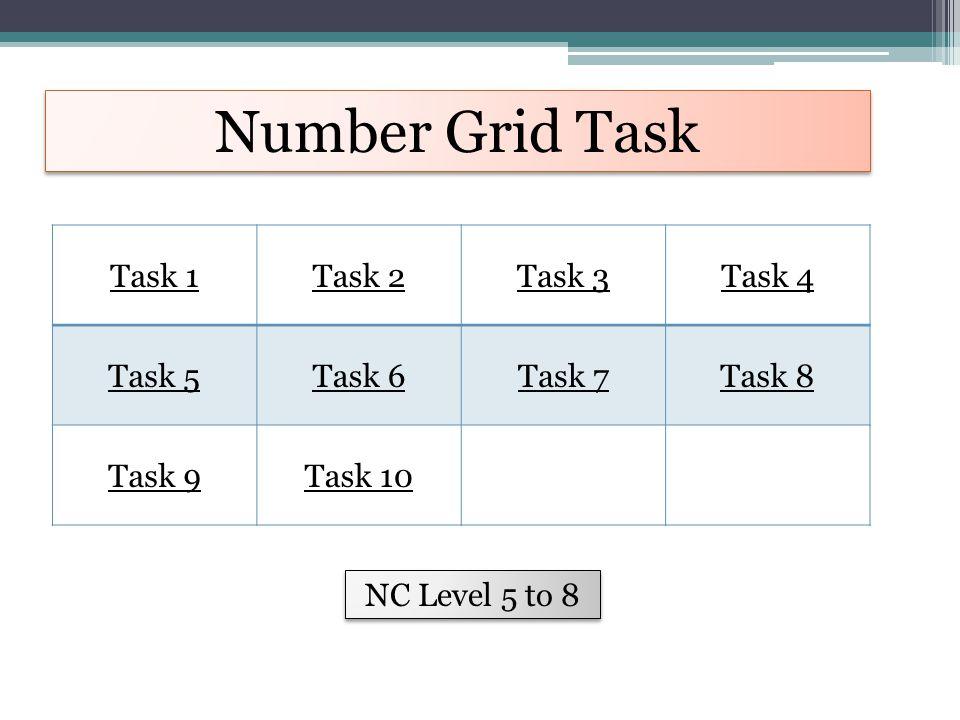 Number Grid Task Task 1Task 2Task 3Task 4 Task 5Task 6Task 7Task 8 Task 9Task 10 NC Level 5 to 8