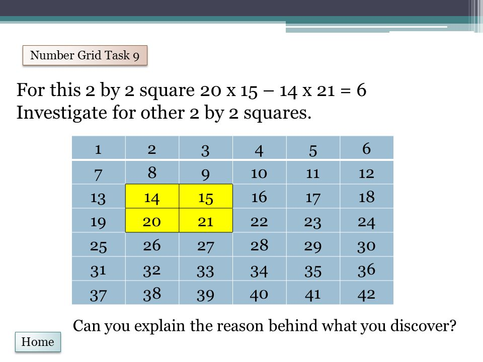 Home Number Grid Task 9 For this 2 by 2 square 20 x 15 – 14 x 21 = 6 Investigate for other 2 by 2 squares.