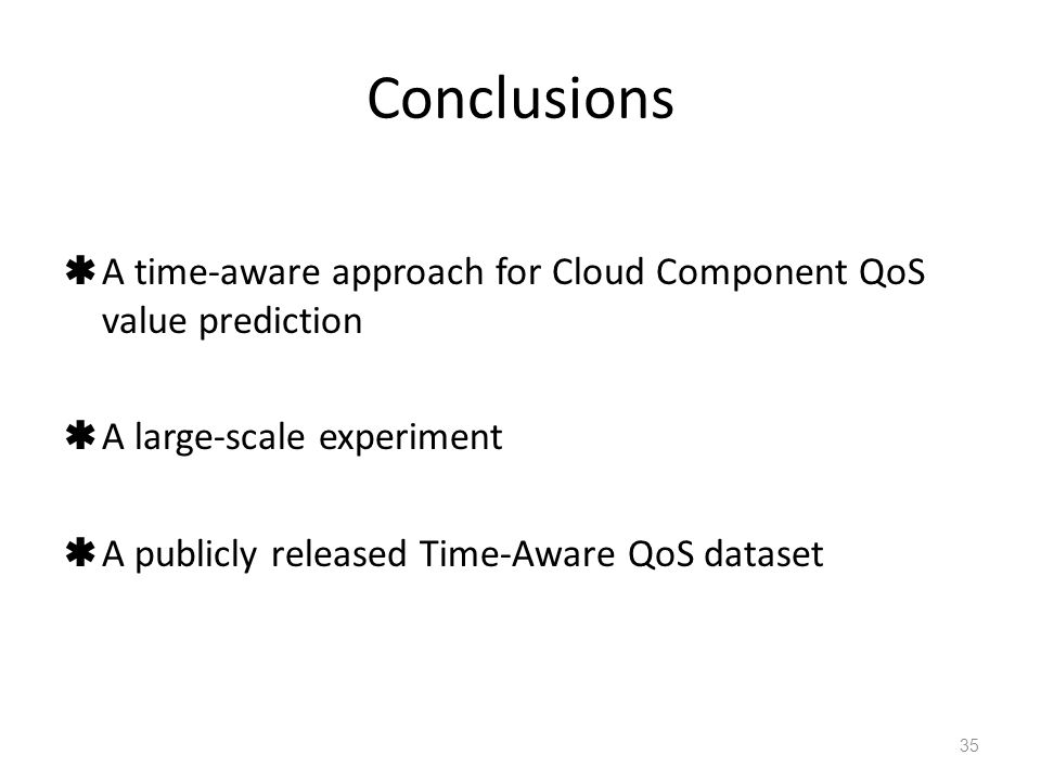 Conclusions  A time-aware approach for Cloud Component QoS value prediction  A large-scale experiment  A publicly released Time-Aware QoS dataset 35