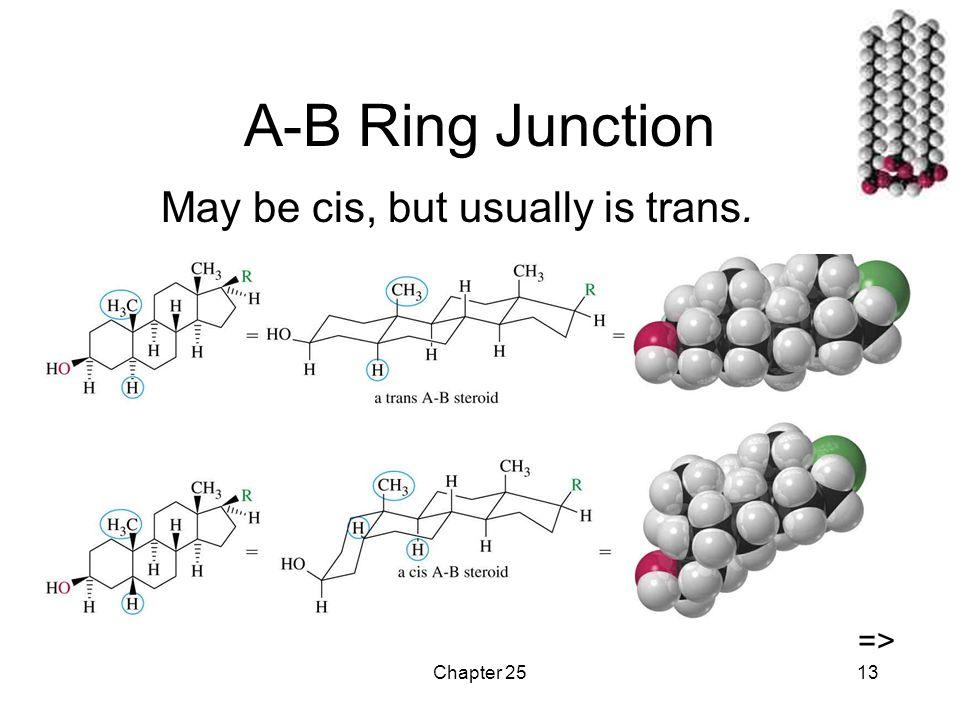 Chapter 2513 A-B Ring Junction May be cis, but usually is trans. =>