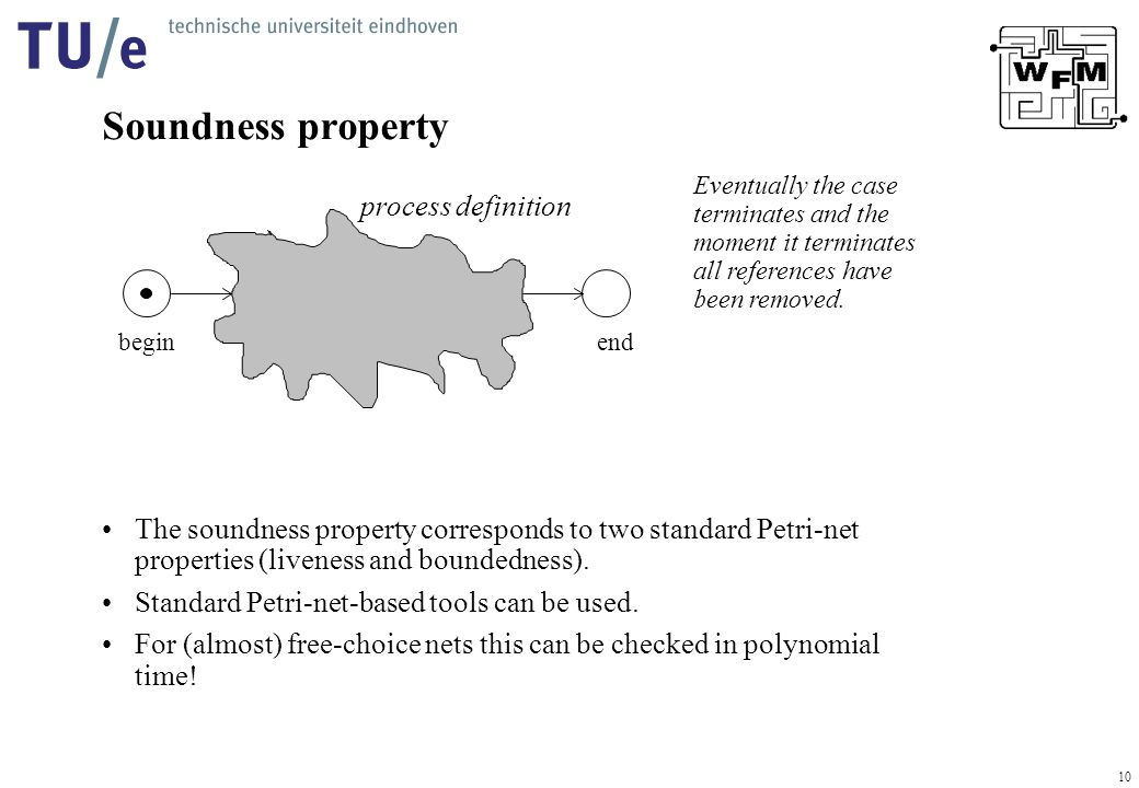 10 Soundness property The soundness property corresponds to two standard Petri-net properties (liveness and boundedness).