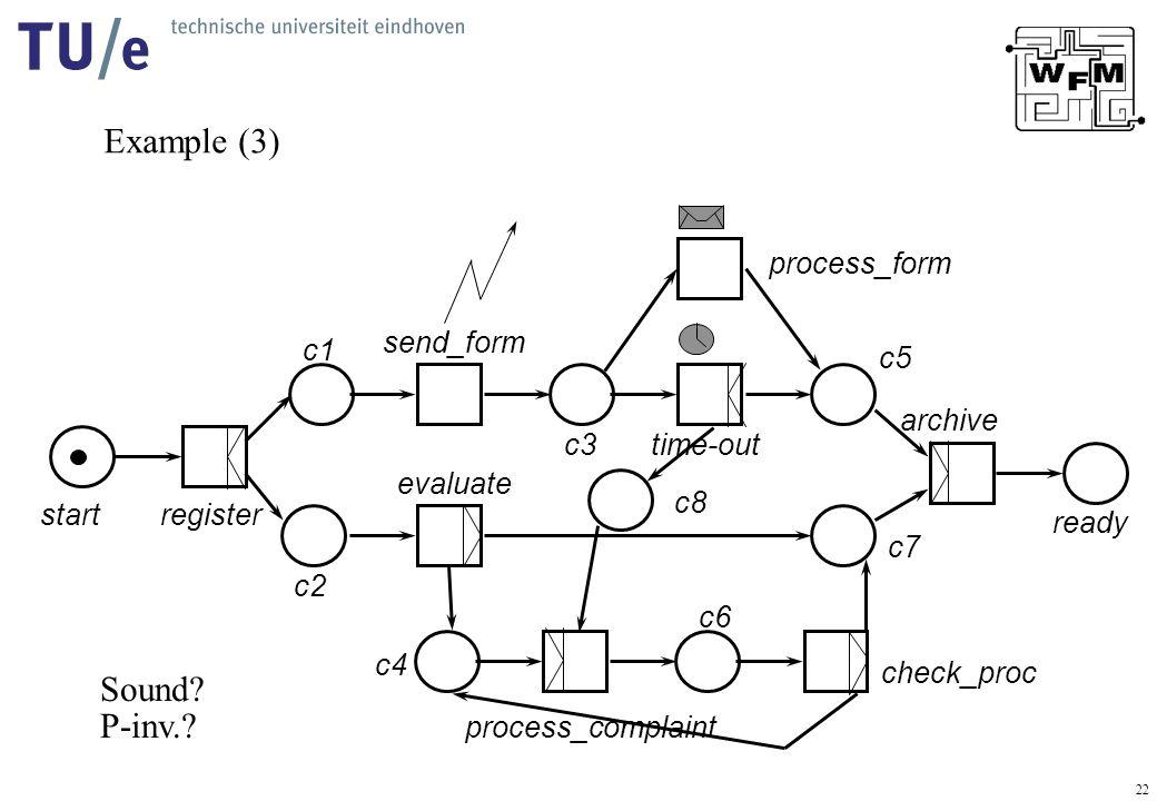 22 Example (3) startregister send_form evaluate process_complaint check_proc process_form time-out archive ready c1 c2 c3 c4 c5 c6 c7 c8 Sound.