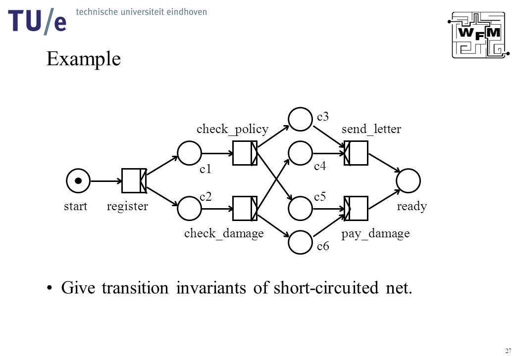 27 Example Give transition invariants of short-circuited net.