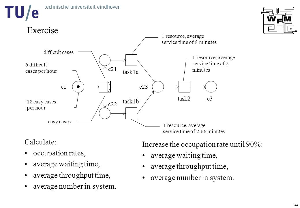 44 Exercise Calculate: occupation rates, average waiting time, average throughput time, average number in system.