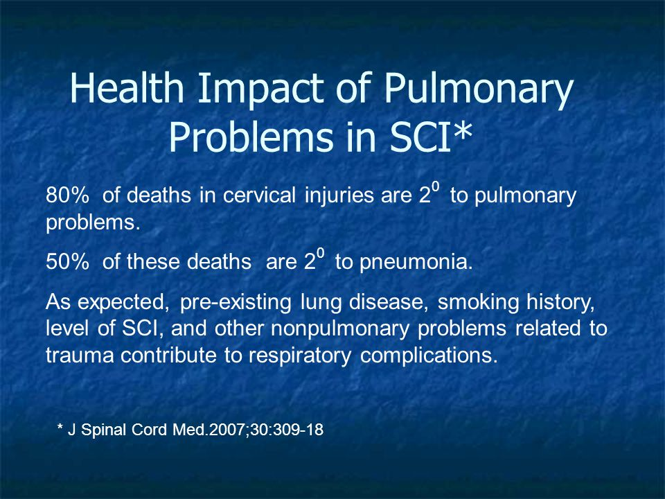 Health Impact of Pulmonary Problems in SCI* 80% of deaths in cervical injuries are 2 0 to pulmonary problems.