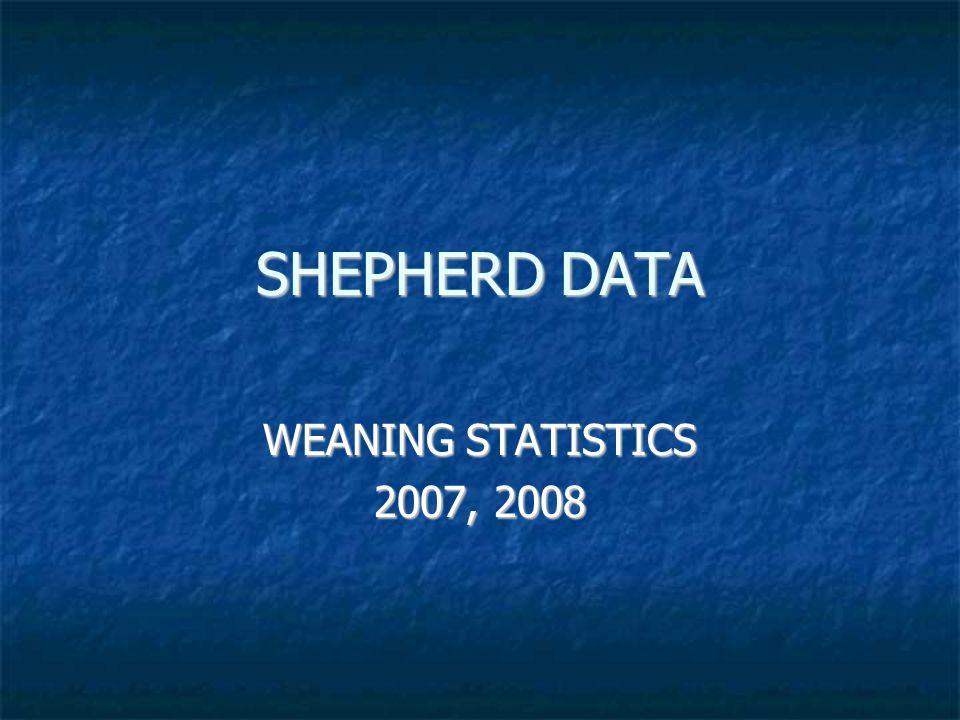 SHEPHERD DATA WEANING STATISTICS 2007, 2008