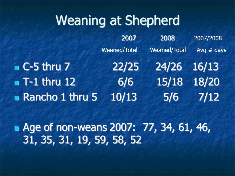 Weaning at Shepherd 2007 2008 C-5 thru 7 22/25 24/26 16/13 C-5 thru 7 22/25 24/26 16/13 T-1 thru 12 6/6 15/18 18/20 T-1 thru 12 6/6 15/18 18/20 Rancho