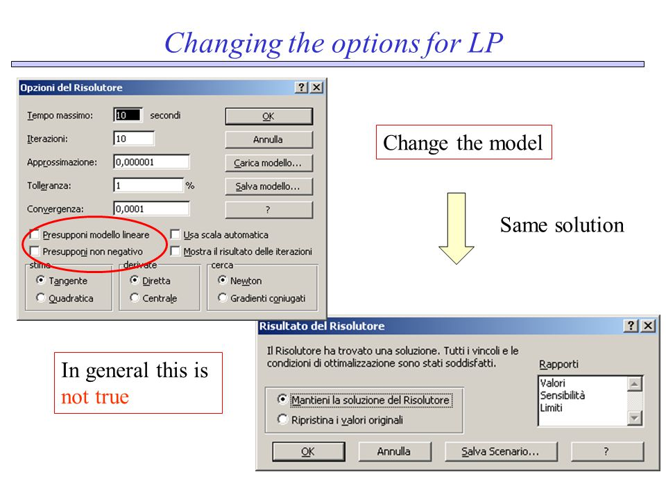 Changing the options for LP Same solution Change the model In general this is not true