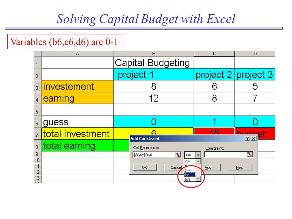 Solving Capital Budget with Excel Variables (b6,c6,d6) are 0-1