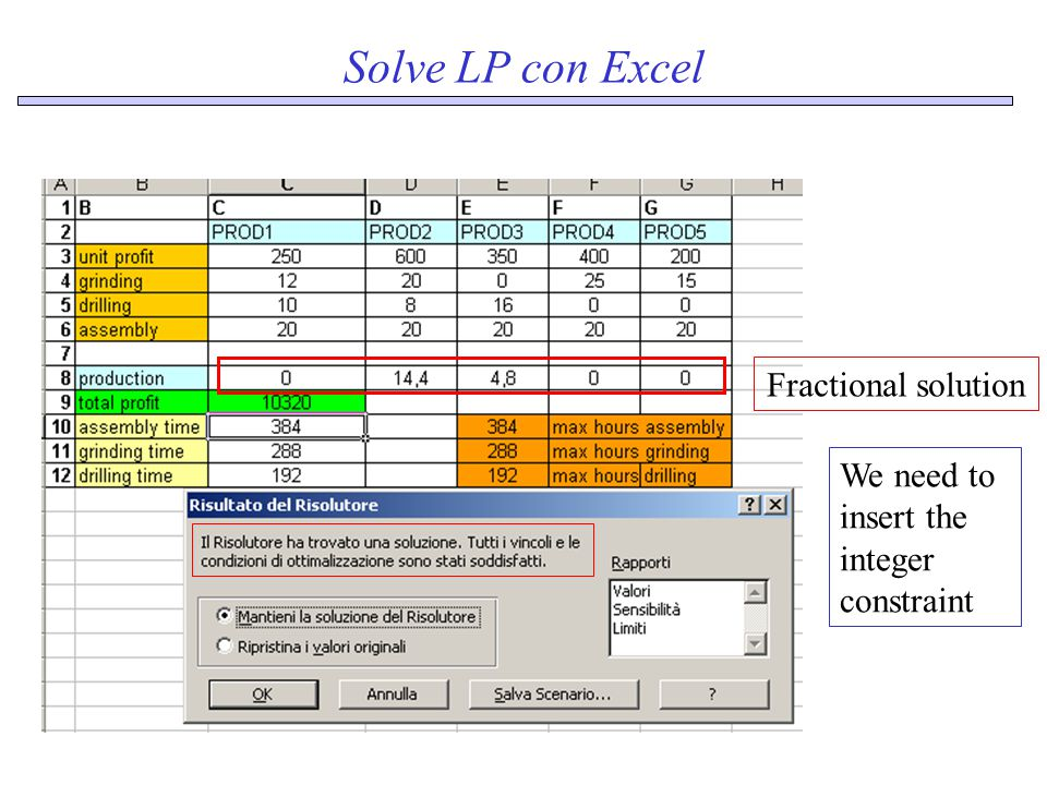 Solve LP con Excel Fractional solution We need to insert the integer constraint