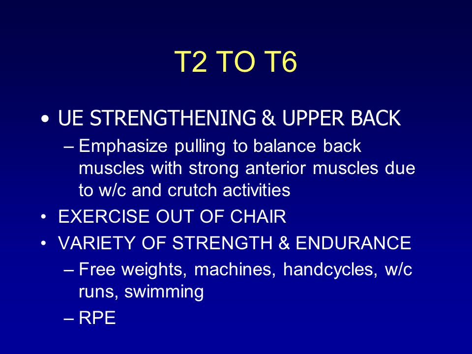 T2 TO T6 UE STRENGTHENING & UPPER BACK –Emphasize pulling to balance back muscles with strong anterior muscles due to w/c and crutch activities EXERCISE OUT OF CHAIR VARIETY OF STRENGTH & ENDURANCE –Free weights, machines, handcycles, w/c runs, swimming –RPE