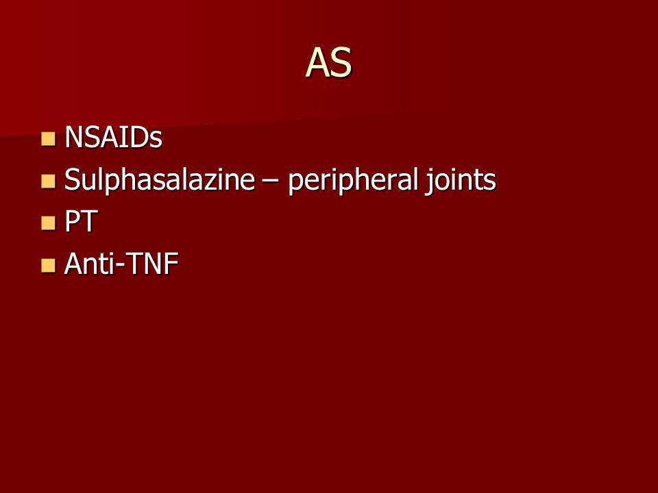 AS NSAIDs NSAIDs Sulphasalazine – peripheral joints Sulphasalazine – peripheral joints PT PT Anti-TNF Anti-TNF