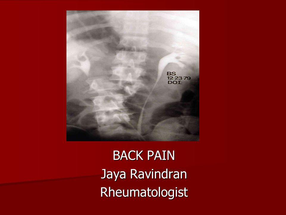 BACK PAIN Jaya Ravindran Rheumatologist