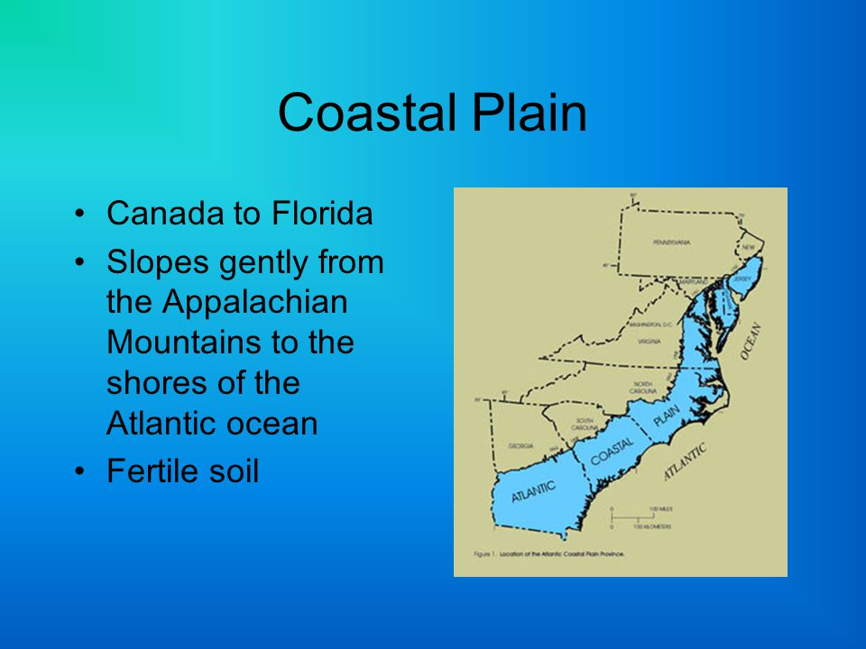 Coastal Plain Canada to Florida Slopes gently from the Appalachian Mountains to the shores of the Atlantic ocean Fertile soil
