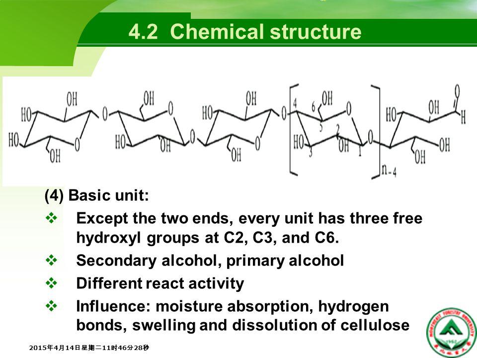 4.5 Chemical Properties 3.Alkaline degradation  Alkaline hydrolysis, peeling reaction, stopping reaction  ( 1 ) Alkaline hydrolysis  Occurring at high temperatures  β-alkoxy elimination 2015年4月14日星期二11时48分5秒 2015年4月14日星期二11时48分5秒 2015年4月14日星期二11时48分5秒 2015年4月14日星期二11时48分5秒 2015年4月14日星期二11时48分5秒 2015年4月14日星期二11时48分5秒