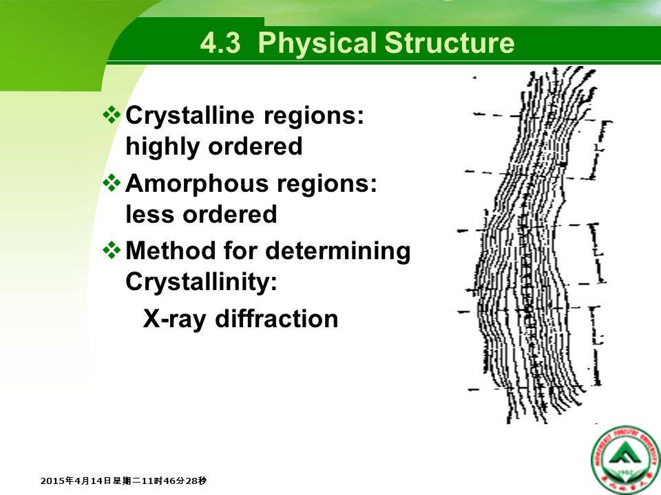 4.3 Physical Structure  Crystalline regions: highly ordered  Amorphous regions: less ordered  Method for determining Crystallinity: X-ray diffraction 2015年4月14日星期二11时48分5秒 2015年4月14日星期二11时48分5秒 2015年4月14日星期二11时48分5秒 2015年4月14日星期二11时48分5秒 2015年4月14日星期二11时48分5秒 2015年4月14日星期二11时48分5秒