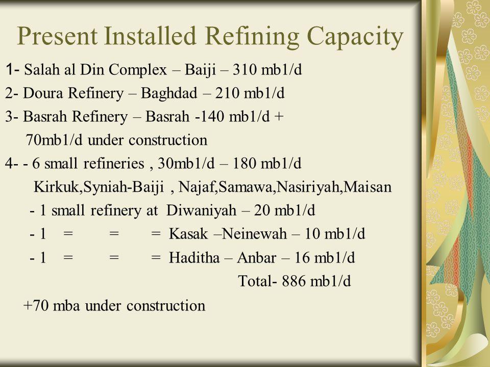 Present Installed Refining Capacity 1- Salah al Din Complex – Baiji – 310 mb1/d 2- Doura Refinery – Baghdad – 210 mb1/d 3- Basrah Refinery – Basrah -1