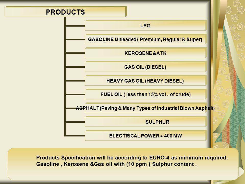 PRODUCTS LPG GASOLINE Unleaded ( Premium, Regular & Super) KEROSENE &ATK GAS OIL (DIESEL) HEAVY GAS OIL (HEAVY DIESEL) FUEL OIL ( less than 15% vol. o