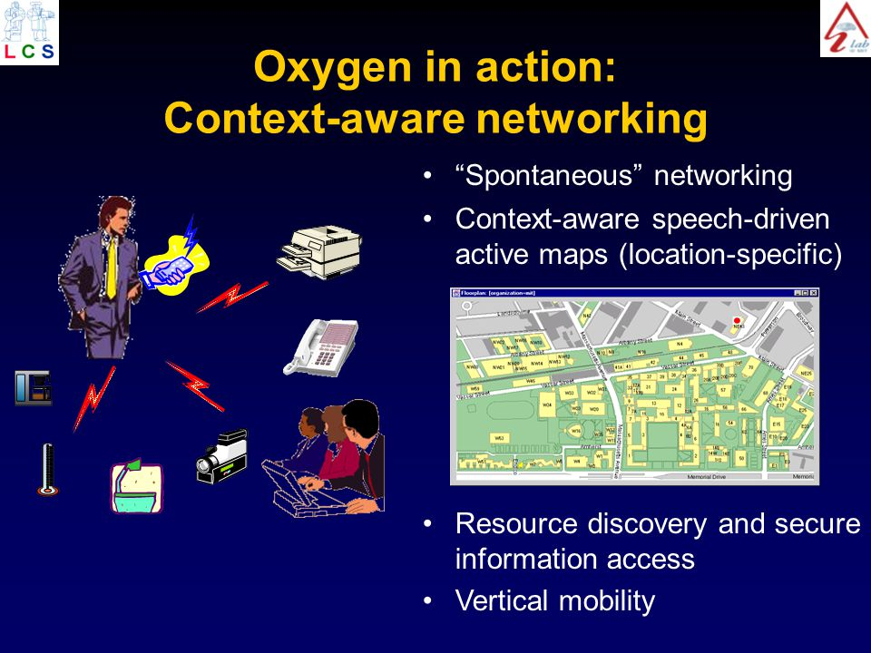 Oxygen in action: Context-aware networking Resource discovery and secure information access Vertical mobility Spontaneous networking Context-aware speech-driven active maps (location-specific)
