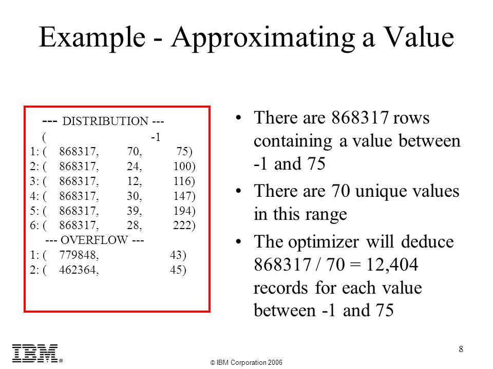 © IBM Corporation 2006 8 Example - Approximating a Value --- DISTRIBUTION --- ( -1 1: ( 868317, 70, 75) 2: ( 868317, 24, 100) 3: ( 868317, 12, 116) 4: ( 868317, 30, 147) 5: ( 868317, 39, 194) 6: ( 868317, 28, 222) --- OVERFLOW --- 1: ( 779848, 43) 2: ( 462364, 45) There are 868317 rows containing a value between -1 and 75 There are 70 unique values in this range The optimizer will deduce 868317 / 70 = 12,404 records for each value between -1 and 75