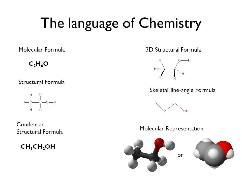 The language of Chemistry Molecular Formula C2H6OC2H6O Structural Formula Condensed Structural Formula CH 3 CH 2 OH 3D Structural Formula Molecular Representation Skeletal, line-angle Formula or