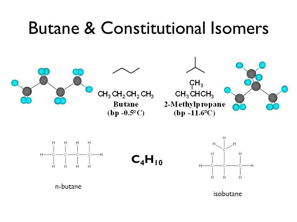 Butane & Constitutional Isomers n-butane isobutane C 4 H 10