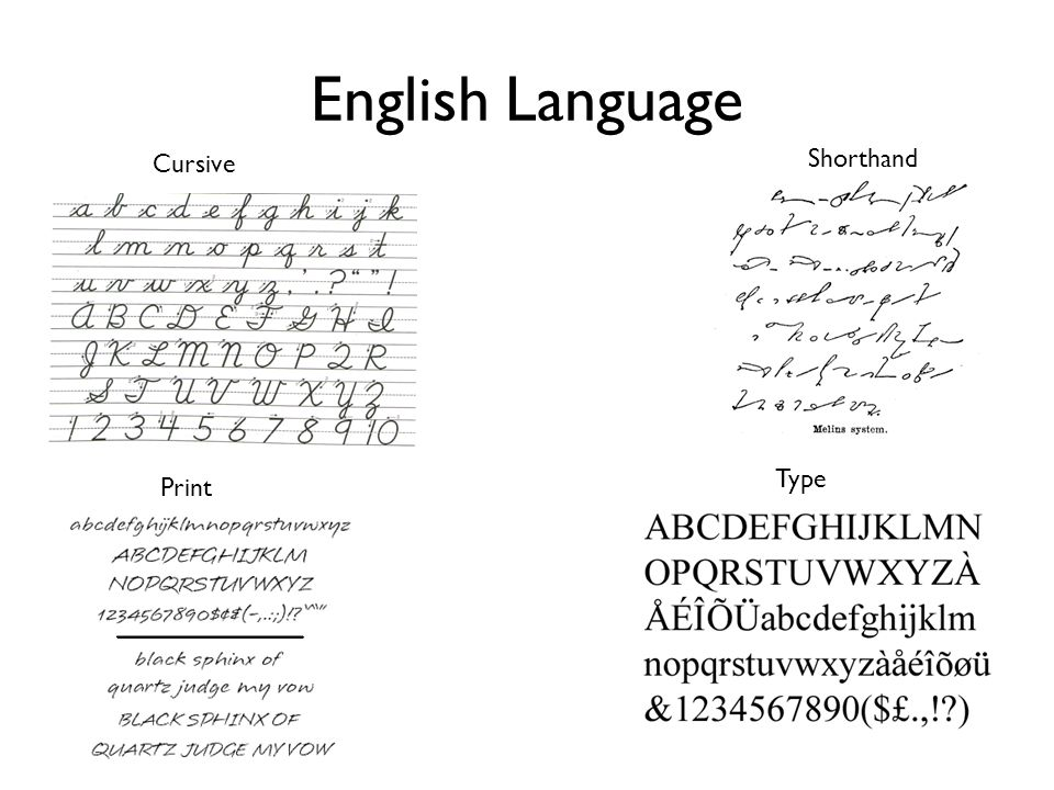 English Language Cursive Print Shorthand Type